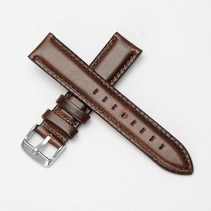 Klassiskt klockarmband av mörkbrunt läder 14mm 16mm 18mm 20mm