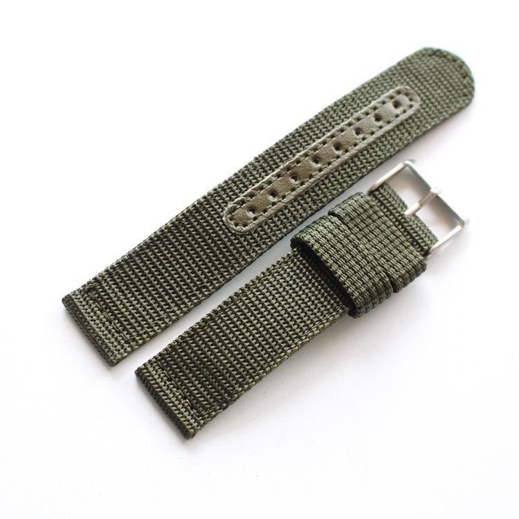 Grönt natoband i två delar 18mm 20mm 22mm 24mm