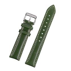 Klassiskt klockarmband av grönt läder med vit söm