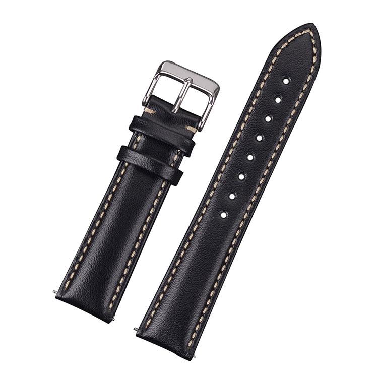 Klassiskt klockarmband av svart läder med vit söm