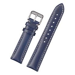 Klassiskt klockarmband av blått läder med vit söm