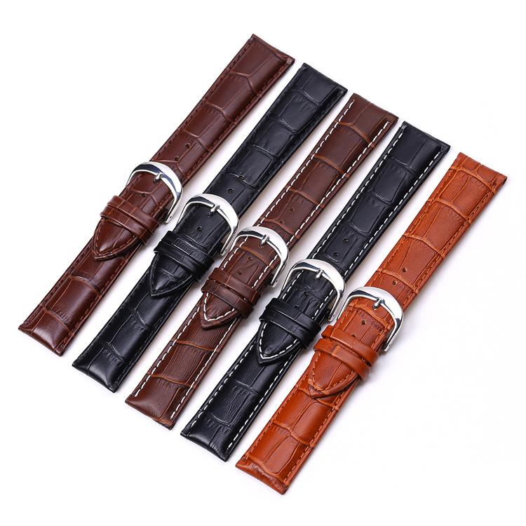 Krokodilmönstrat band av svart läder 16mm 18mm 20mm 22mm
