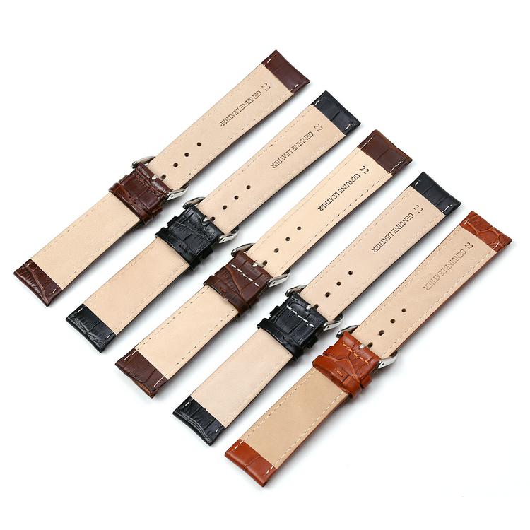 Krokodilmönstrat band av mörkbrunt läder 16mm 18mm 20mm  22mm