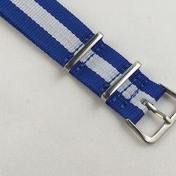 NATO-armband från Spanska Diloy i blått och vit - Bredd 20 mm