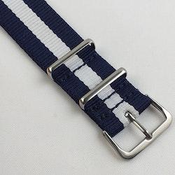 NATO-armband från Spanska Diloy i marinblått och vit - Bredd 20 mm