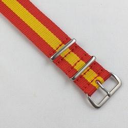 NATO-armband från Spanska Diloy i rött och gult - Bredd 20 mm