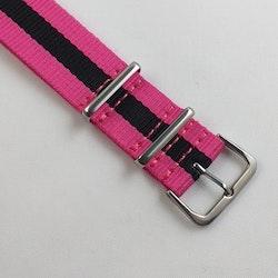 NATO-armband från Spanska Diloy i rosa och svart - Bredd 20 mm