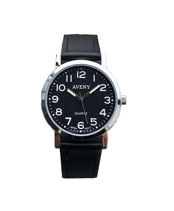 Klocka med stållänk från Aveny - Herr/pojk modell - 36 mm - Svart urtavla