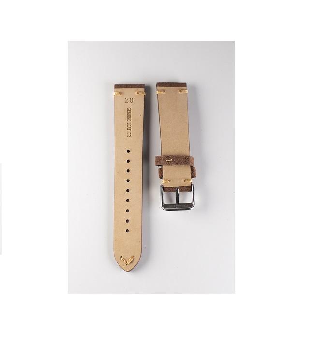 Premium klockarmband av mörkbrun mocka 18mm 20mm 22mm