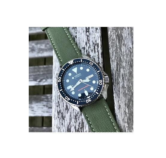 Klockarmband - Segelduk - Sailcloth - Grön - 18mm 20mm 22mm 24mm