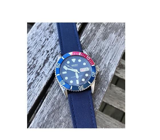 Klockarmband - Segelduk - Sailcloth - Blå - 18mm 20mm 22mm 24mm