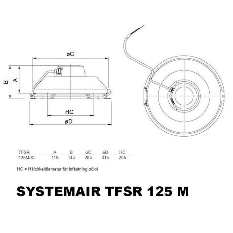 Systemair TFSR 125 M Takfläkt Svart