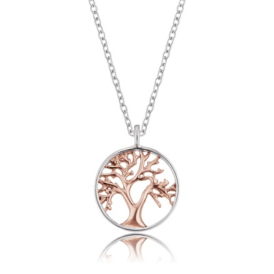 Halsband Livets Träd silver/rosé
