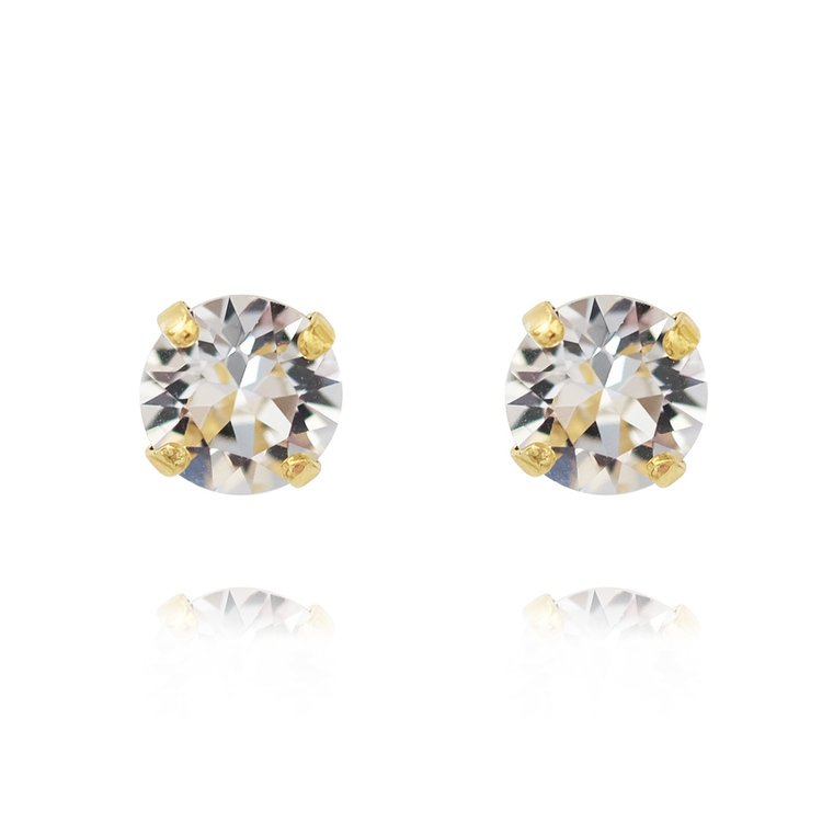 Classic Stud Earrings/ Crystal - Gold