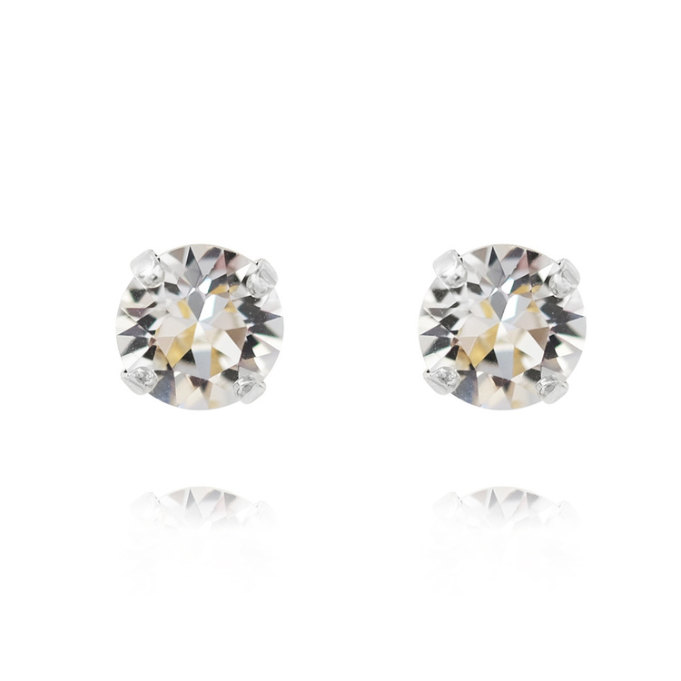 Classic Stud Earrings/ Crystal - Rhodium