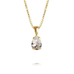 Petite Drop Necklace/ Crystal Gold