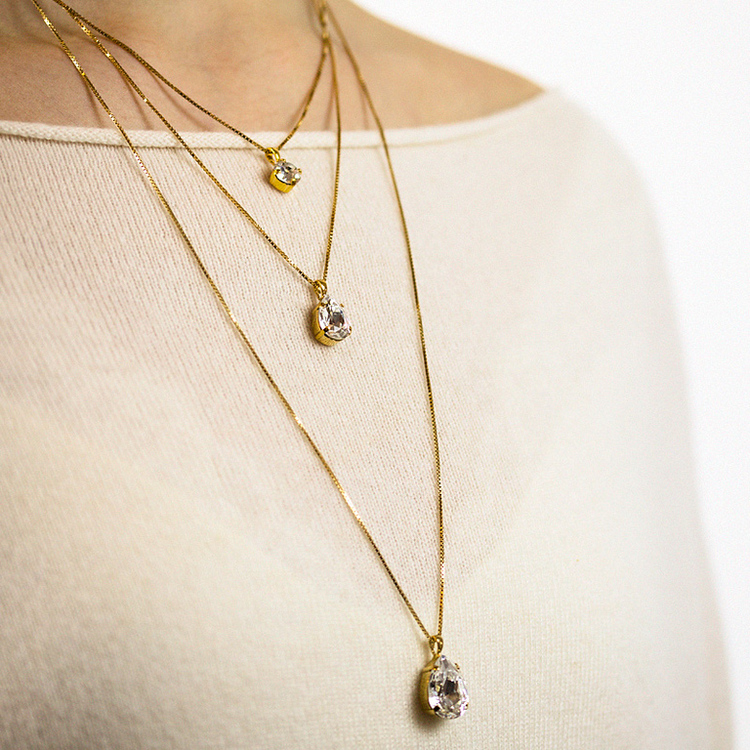 Mini Drop Necklace/ Crystal Gold