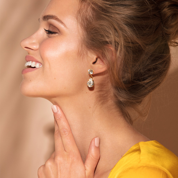 Mini Drop Earrings/ Crystal Gold