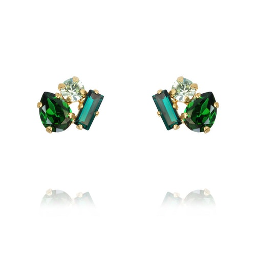Isa Earrings/ Green Combo Gold