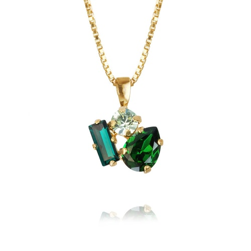 Isa Necklace/ Green Combo Gold
