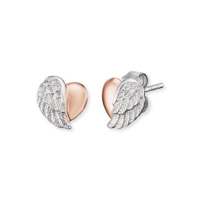 Örhängen Heartwing silver/rosé studs
