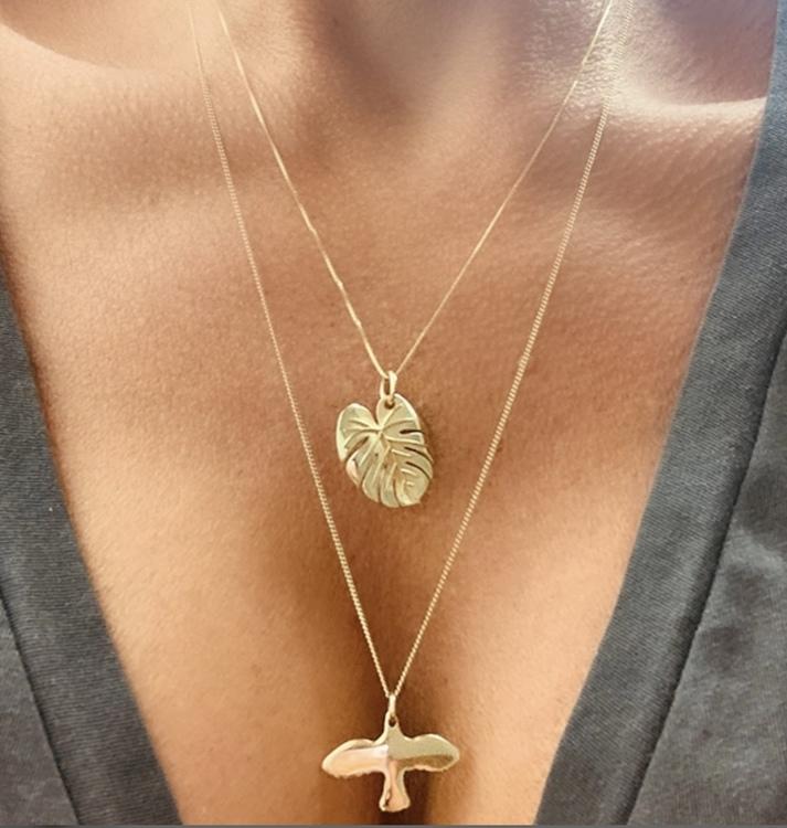 Palm Leaf Necklace Gold