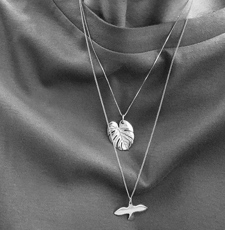 Palm Leaf Necklace Silver