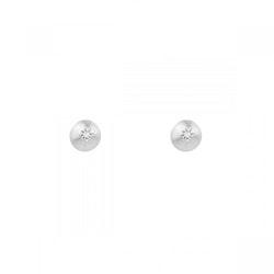 Sparkling Globe Pin Earrings Silver