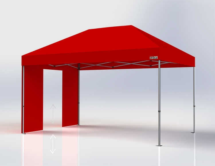 Popup Tält - 3x4,5 m - Röd - Stativ med takduk