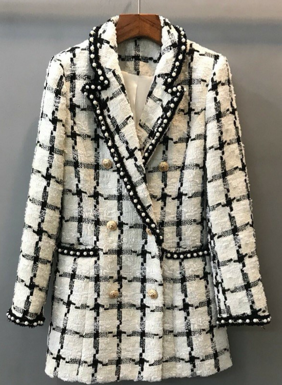 Fanny white black blazer