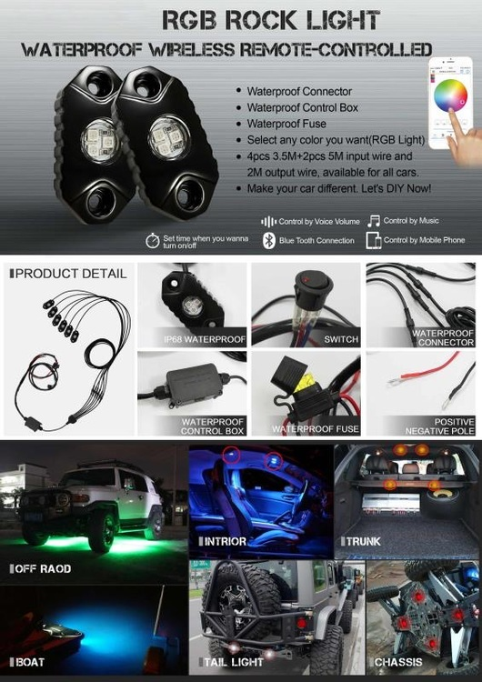 RGB LED Rock light kit, 6pcs rock light per kit.