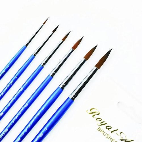 Hög kvalitativa penslar för målning i akryl. (6 pack)