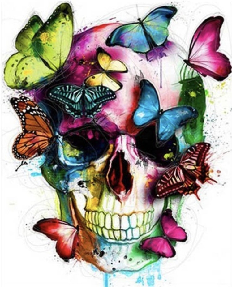 Skull with colorful butterflies