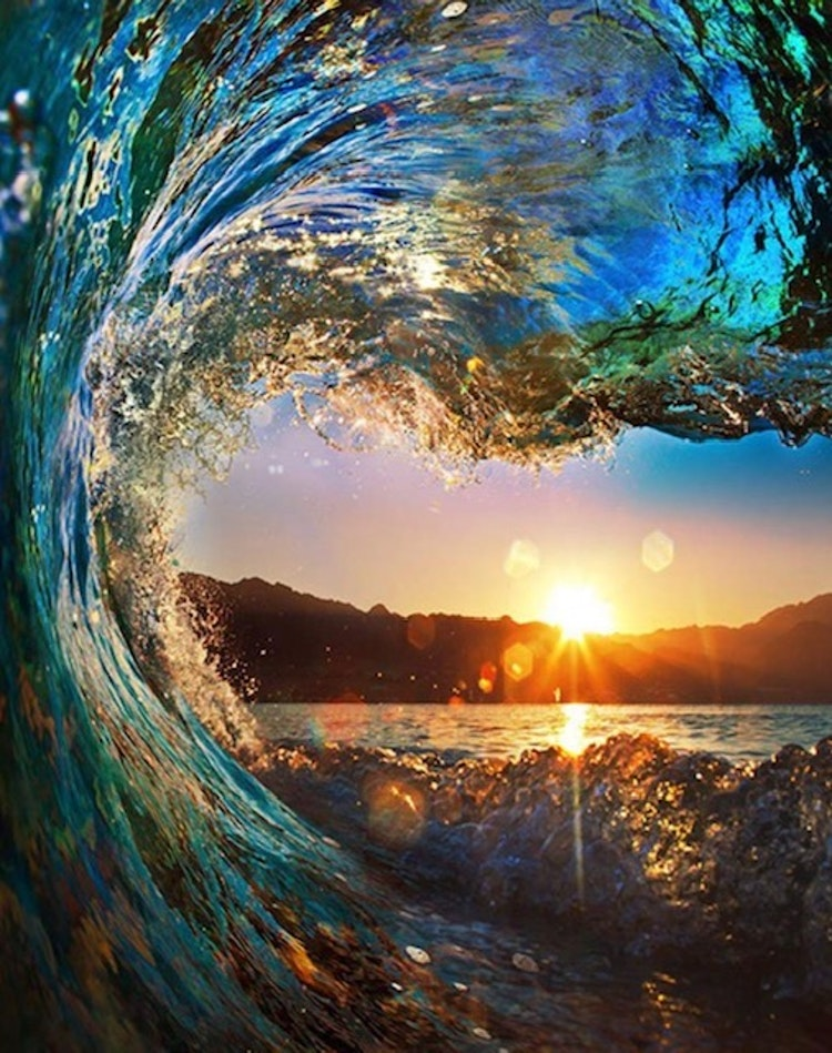 Wave in sunset
