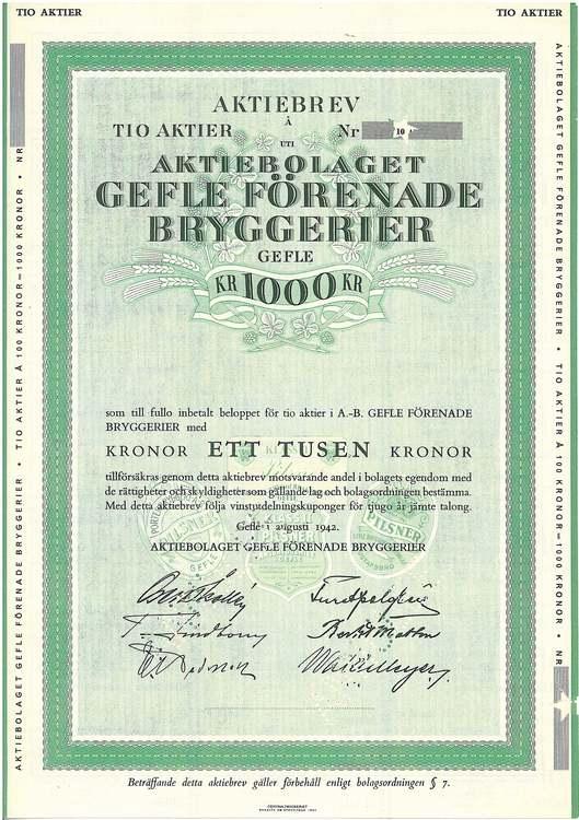 Gefle Förenade Bryggerier, 1 000 kr