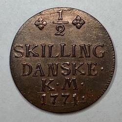 Christian VII, 1/2 Skilling 1771