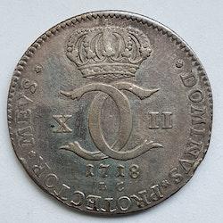 Karl XII 2 Carolin/ 1 Daler Silvermynt 1718
