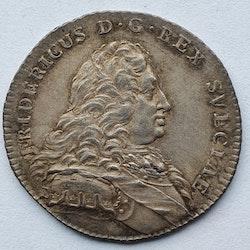 Fredrik I, 1/4 Riksdaler 1750