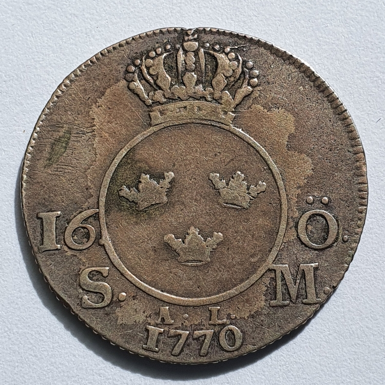 Adolf Fredrik 16 Öre Silvermynt 1770