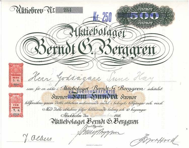Berndt. G. Berggren, AB