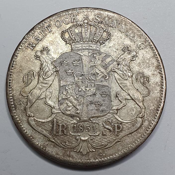 Oscar I 1 Riksdaler Specie 1851