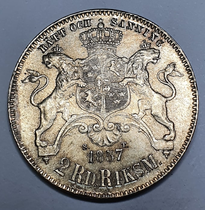 Oscar I, 2 Riksdaler Riksmynt 1857