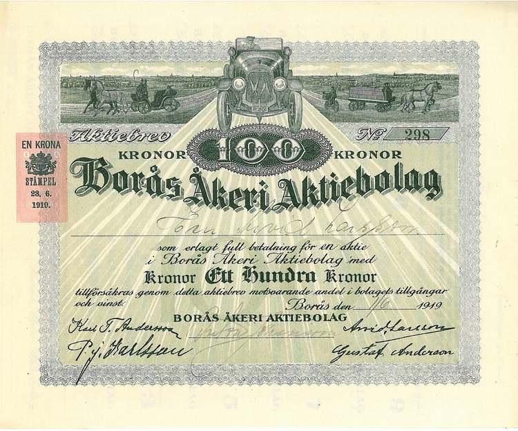 Borås Åkeri AB, 1919