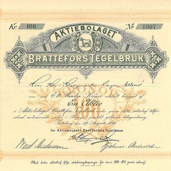 Brattefors Tegelbruk AB, 100 kr, 1898