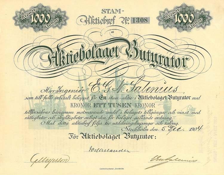 Butyrator AB, 1904