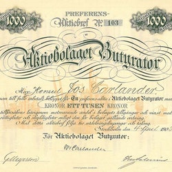 Butyrator AB, 1905