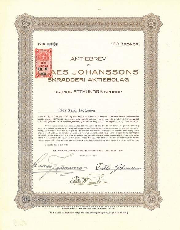Claes Johanssons Skrädderi AB, 100 kr
