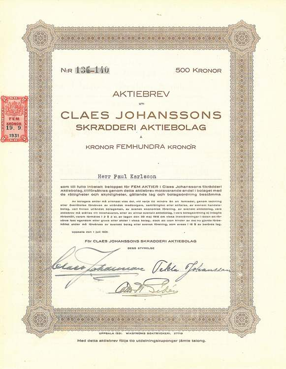 Claes Johanssons Skrädderi AB, 500 kr