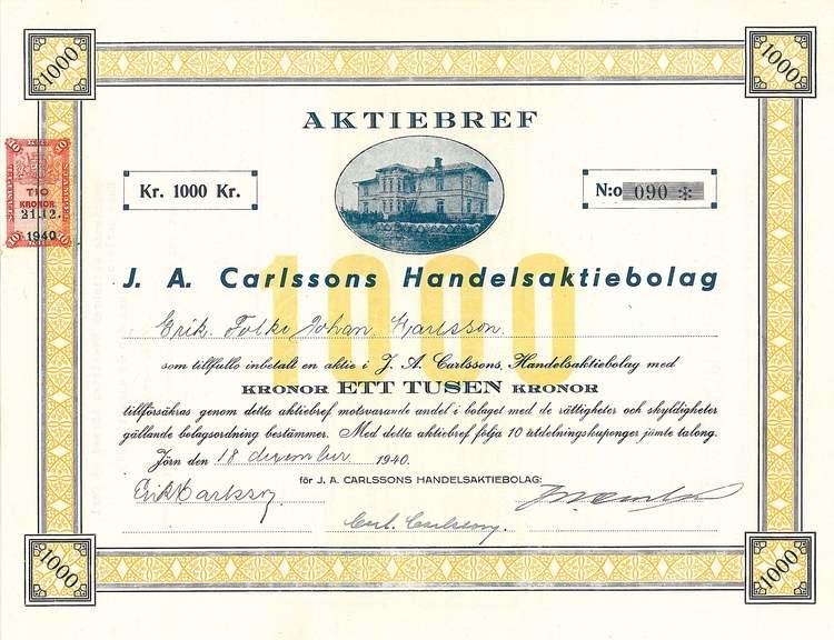 Carlssons Handels AB, J. A, 1940