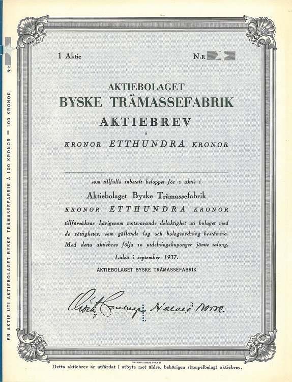 Byske Trämassefabrik, AB, 100 kr